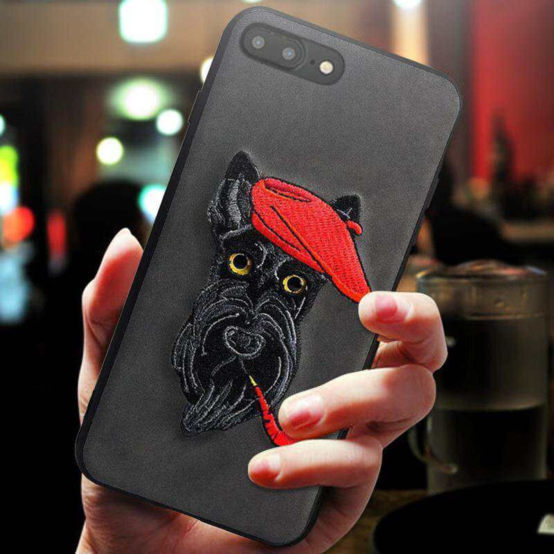 New Arrival 3D Embroidery Pet dog Case For iPhone 7 8 plus Cover Coque For iPhone7/8 Case 360 Degree Embroidery for iPhone7Plus