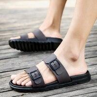 catwtber новый мужской качество удобные модные мужская обувь летние пляжные тапочки для мужчин полный зерна повседневные шлепанцы на открытом воздухе пряжка