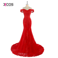 Red Long Bridesmaid Dress Lace Mermaid Formal Dresses Off Shoulder Beaded Appliques Tulle Wedding Party Gowns