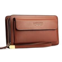 Men Purse Coin Clutch Bag Black Business Brand Men Wallets With Coin Pocket Zipper Double Zipper Male Wallet Long Large недорого