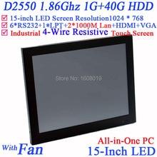 """Самый дешевый 1 Г RAM 40 Г HDD Intel D2550 1.86 ГГц CPU 15 """"LED Все-в-Одном С Сенсорным Экраном PC с 2 * RJ45 6 * COM HD VGA"""