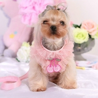 1pc Small Dog Walking Harness Fashion Pink Lace Decor Net Vest Dog Collar Harness Houndstooth Puppy