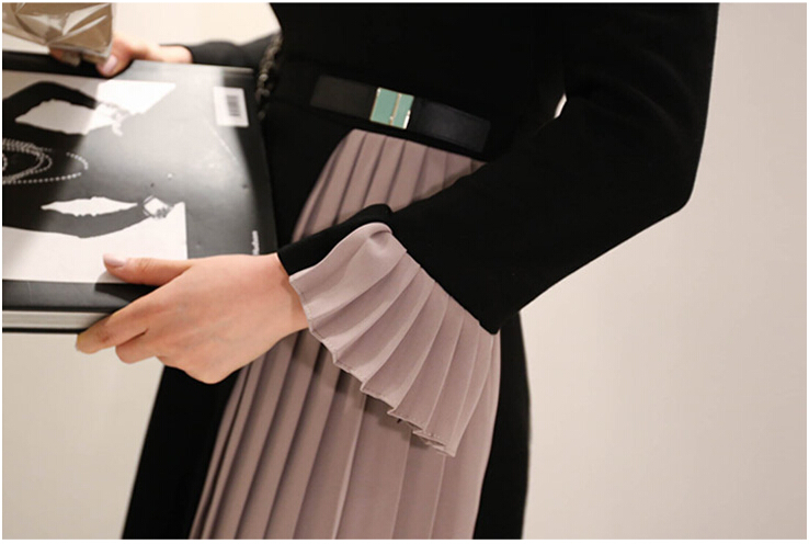 2019 New arrival Women elegant knee-length Pleated dress patchwork O-neck Vestidos women Spring Flare Sleeve party dress 33