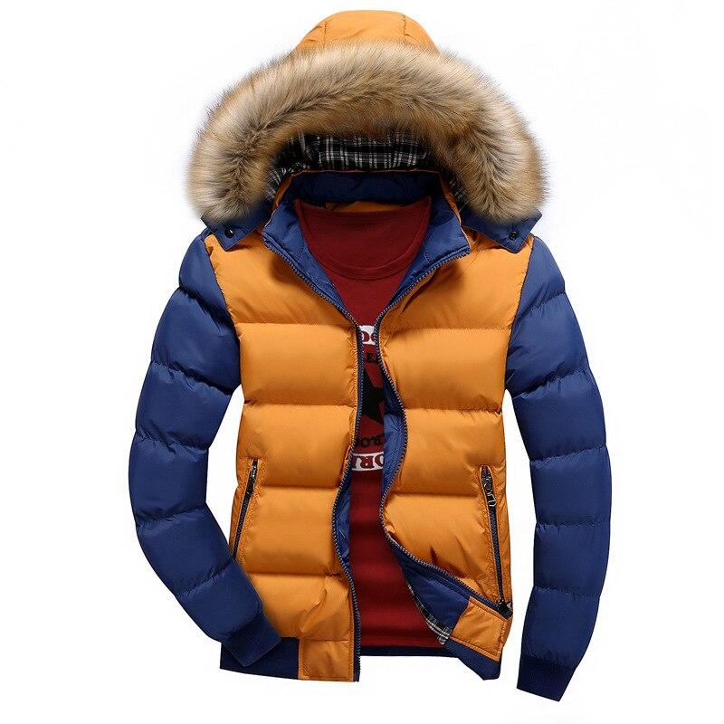 Patchwork Kış Ceket Erkekler Sıcak Pamuk-yastıklı ceket Parkas Rahat Kürk Yaka Kalın Kapşonlu Ayrılabilir Cap Ceket Giyim AMD449