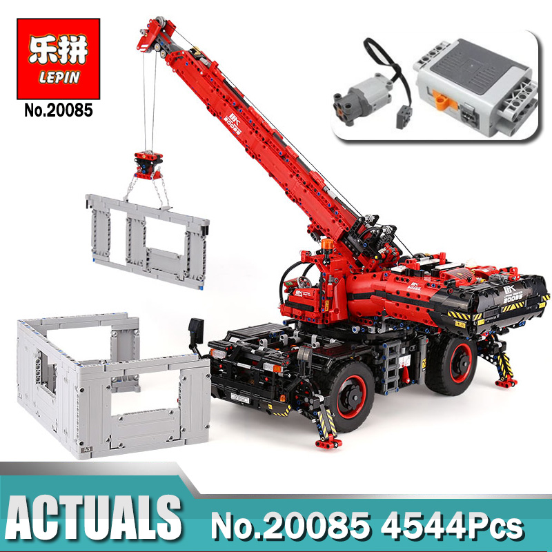 New Lepin 20085 Compatible Legoing 42082 Technic Rough Terrain Crane Set with Power Educational Building Blocks Toys for Boys lepin technic 20085 legoingly 42082 rough terrain crane model set building blocks bricks educational toys for children christmas