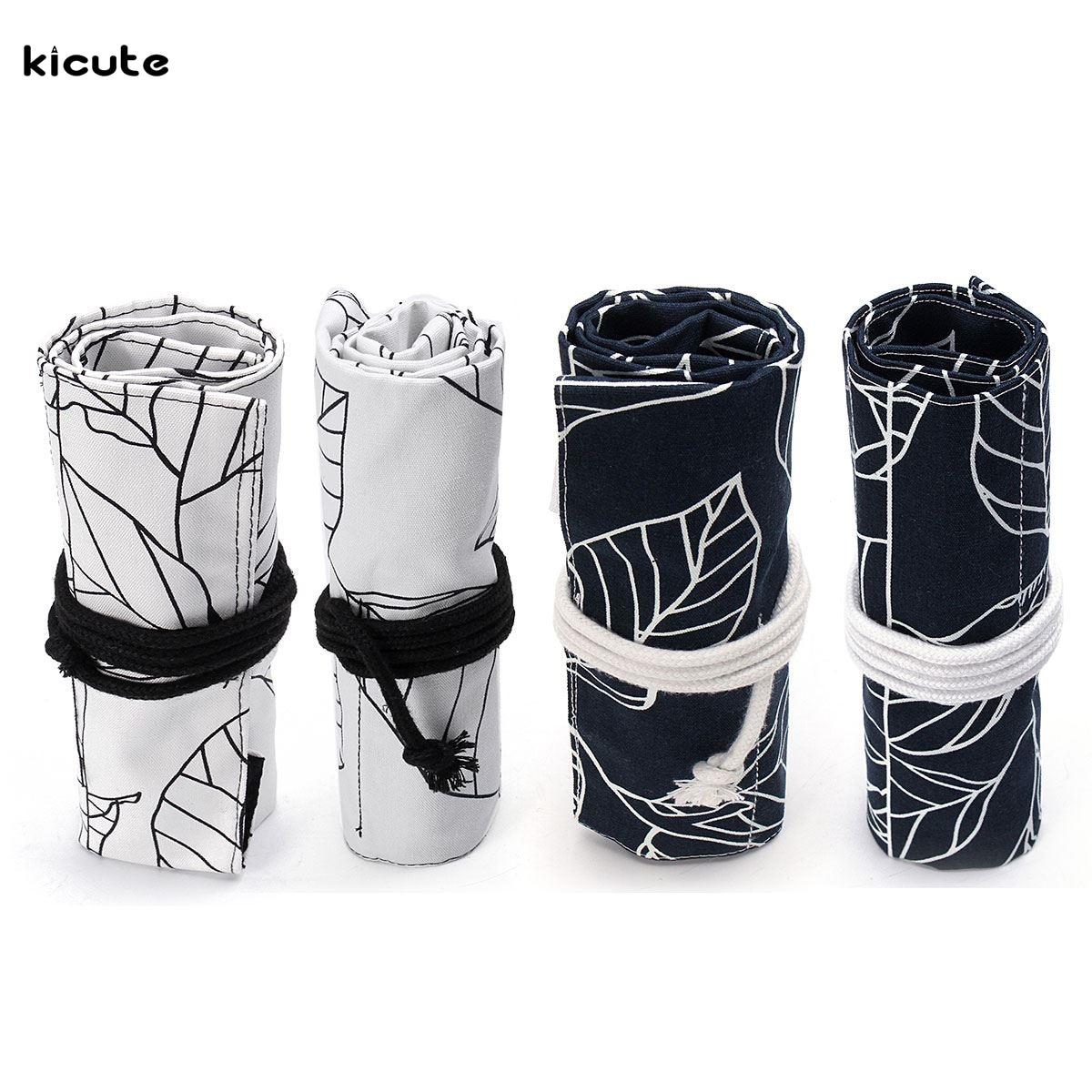 36/48 Holes Black White Leaves Canvas Roll Up Pencil Case Pen Brush Bag Holder Storage Pouch School Supplies цена