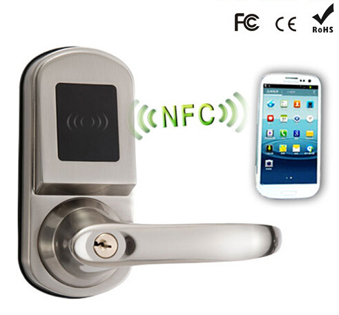US $159 0 |Remote hotel smart door locks NFC Door Lock Mobile Phone Android  4 0 System Control Electric Locks +card-in Locks from Home Improvement on