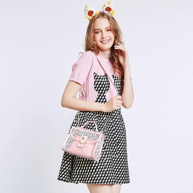 2017 Summer Pink Women Composite Bag Set For Beach PVC Clear Transparent Bags Shoulder Small Ladies Clutch Messenger Handbag