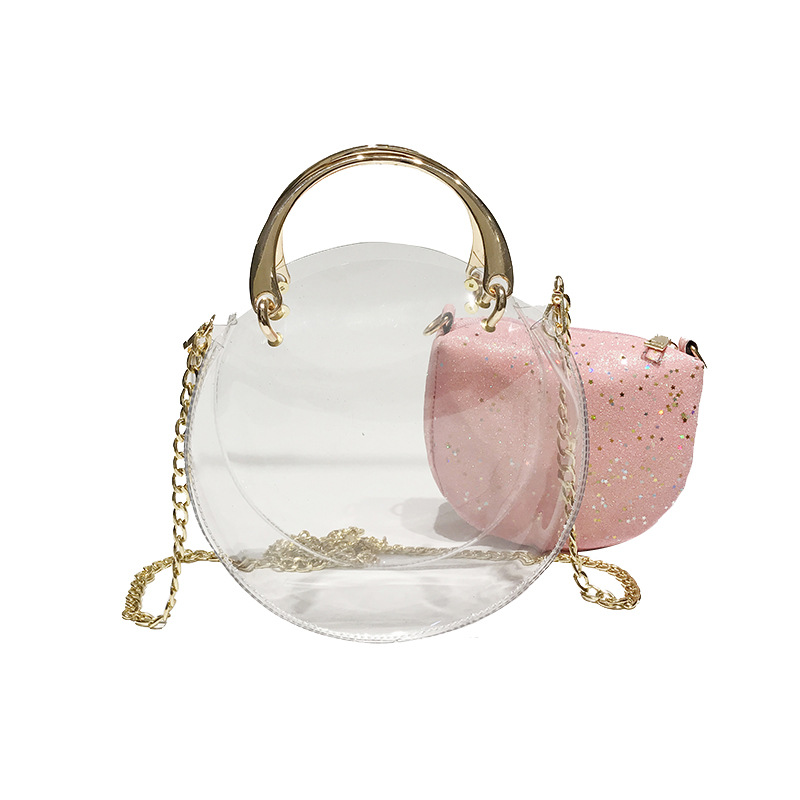 Luggage & Bags High Quality Transparent Beach Ladies Bag Round Handbag Metal Chain One Shoulder Jelly Bucket Mother Bag Liuding Shoulder Bag Latest Fashion Women's Bags