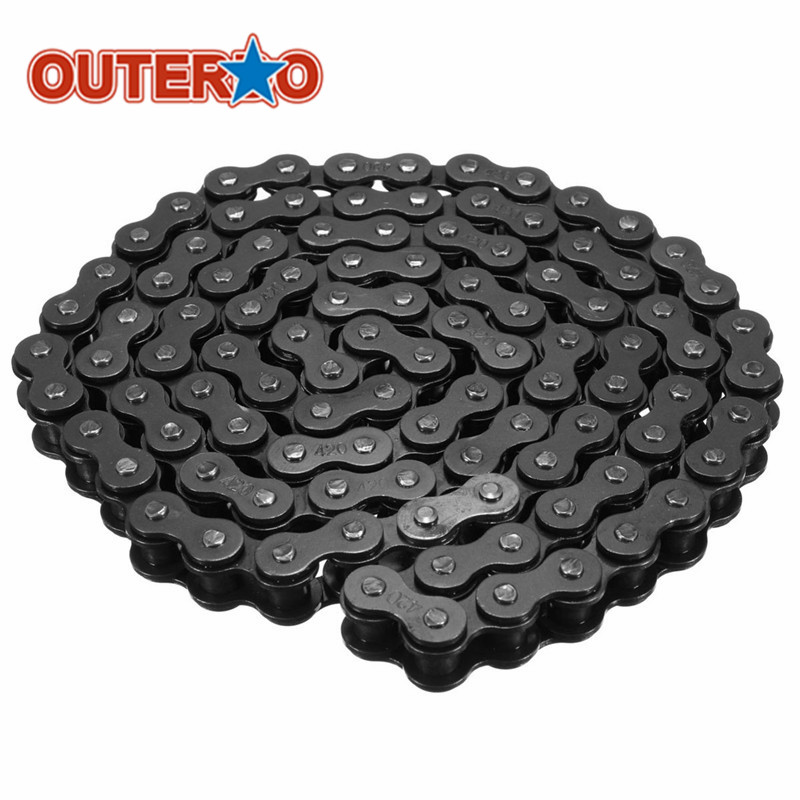 Durable Steel Black 420 Chain 102 Link For Honda SUNL TaoTao Dirt Bike ATV Quad 110cc 125cc Bicycle Cycling Chains Bicycle Part