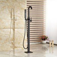 Good Quality Brass Single Handle Floor Mount Free Standing Tub Filler Black Bronze Bathtub Mixer Faucet