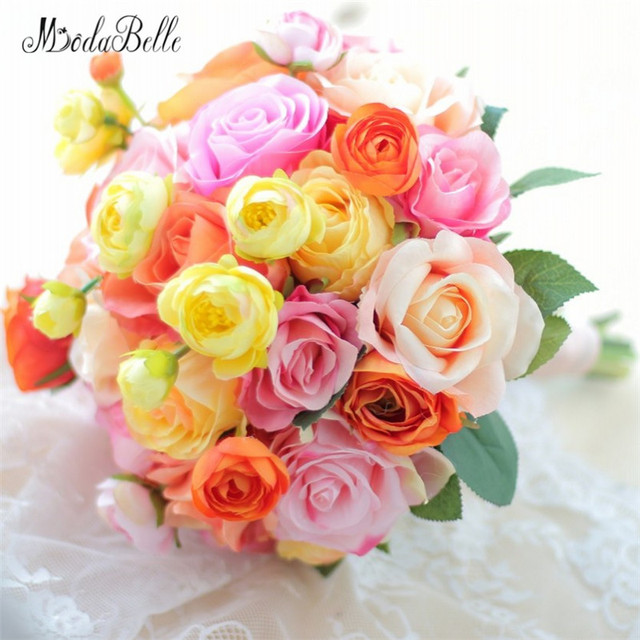 modabelle 2018 Orange Yellow Bridal Bouquet Wedding Flower ...