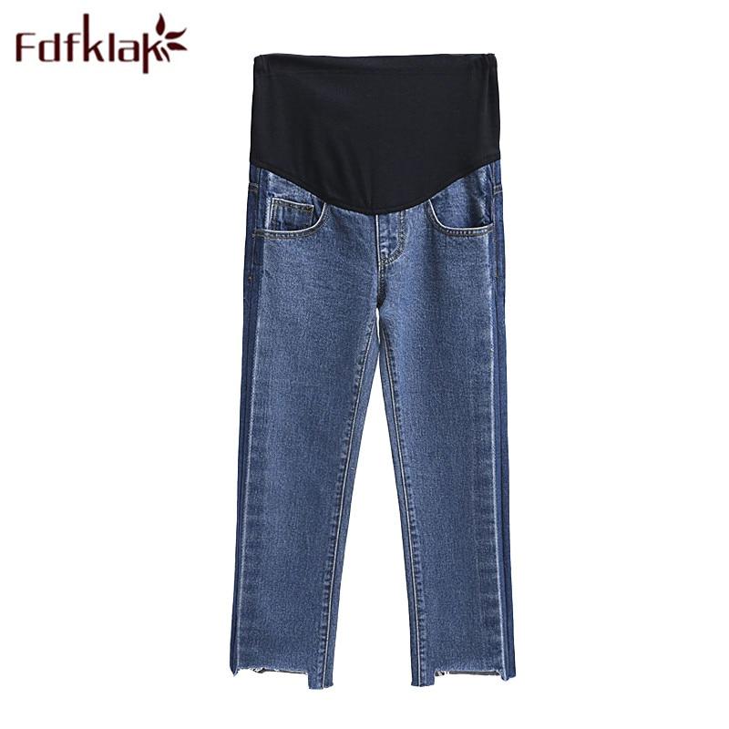 Fdfklak Denim 2018 Maternity Pants Pregnant Clothes Blue Jeans For Pregnant Women Spring Summer Women Nursing Trousers F215
