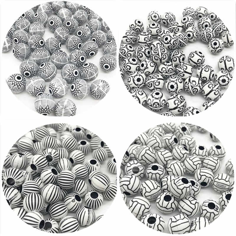 9/11mm 30/50pcs/lot New Hot Cheap Beads Fashion Acrylic Beads Round Shape For Jewelry Accessories Making DIY Bracelets Necklaces
