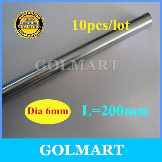 Линейный вал 10 шт. диаметр 6 мм-L 200 мм хромированный линейный круглый вал стержень для ЧПУ XYZ