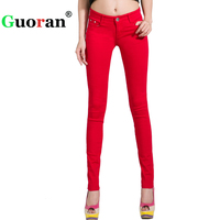 Guoran White Red Black 20 Candy Color Women Jeans Pants Plus Size Skinny Slim Trousers