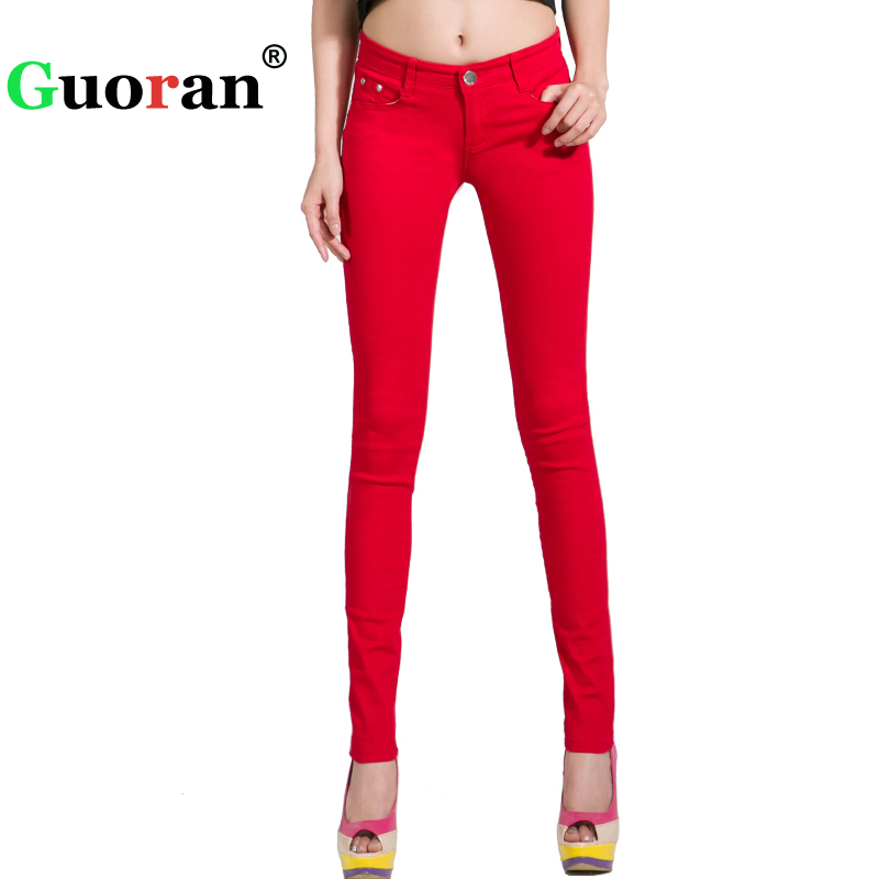 {Guoran} White Red Black 20 Candy Color Women Jeans Pants Plus Size Skinny Slim Trousers Stretch Jeans Leggins Femme Pantalon