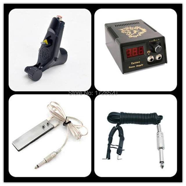 Beginner Tattoo Kit Ego Tatoo Machine LCD Power Supply  Foot Switch Clip Cord Tattoo Equipment Set Diy TATTOO KITS FREE SHIPPING