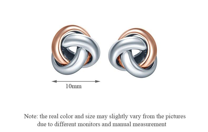Two-Tone Love Knot Stud Earrings