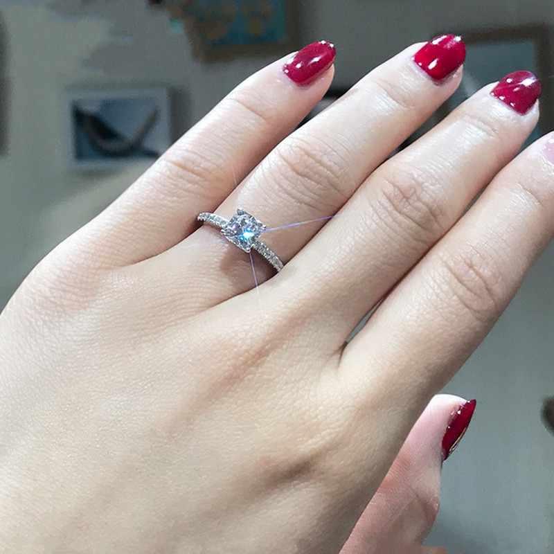 คลาสสิกเงินแท้ Silver 925 Sterling Silver แหวน 2Ct 10 หัวใจลูกศร SONA เครื่องประดับเพชรแต่งงานแหวนสำหรับผู้หญิง