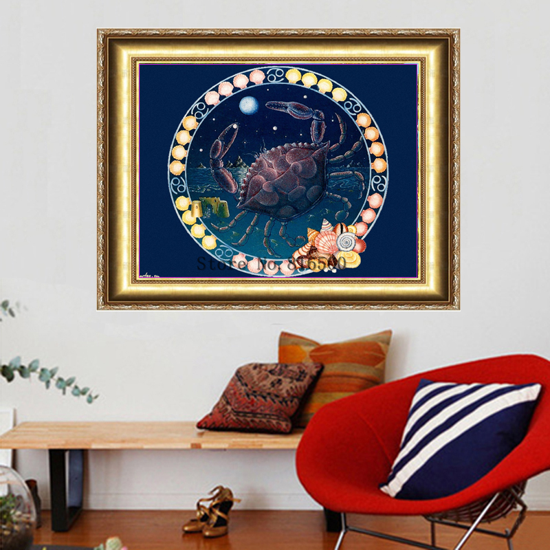 2015 Full Embroidery Cancer Zodiac Pattern Astrology Diy Diamond Painting 3d Mosaic For Square Diamonds Rhinestone Cross Stitch