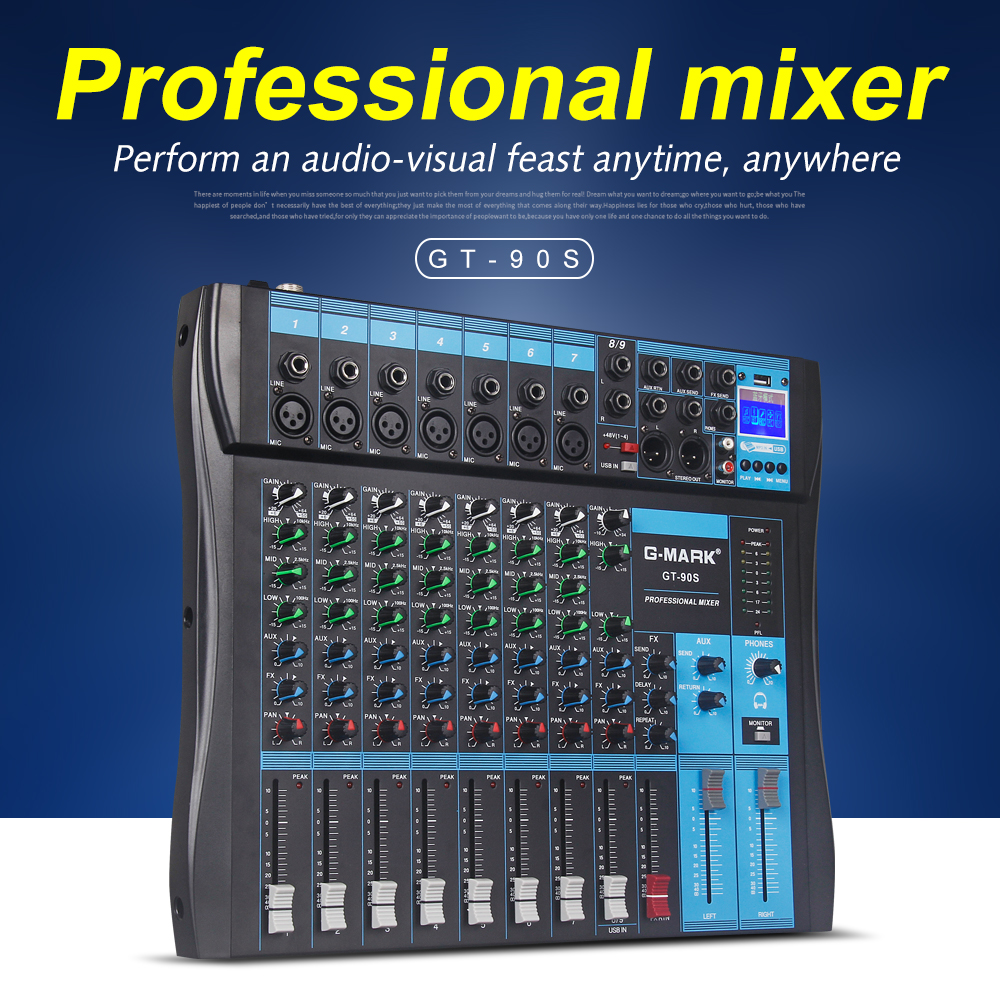 g mark gt90s audio mixer with usb dj sound mixing console mp3 jack 9 channel karaoke 48v. Black Bedroom Furniture Sets. Home Design Ideas