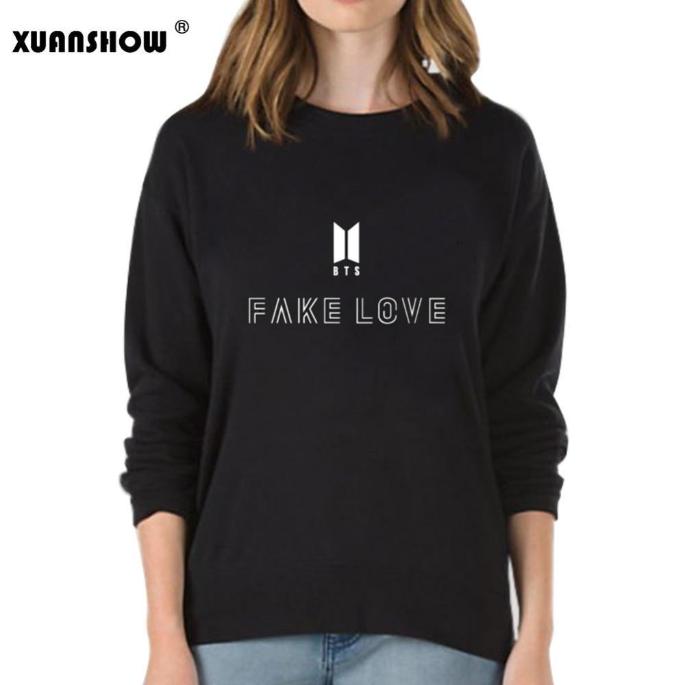 XUANSHOW Fake Love Women Sweatshirt Hoodies BTS Love Yourself Tear Hot Sale Print Girls Cool Sweatshirt Fashion Plus Size S-XXL 2018 autunm warm sweatshirt parka folk custom print hoodies cotton women crop top hoodie moleton feminino dropshipping ag 15