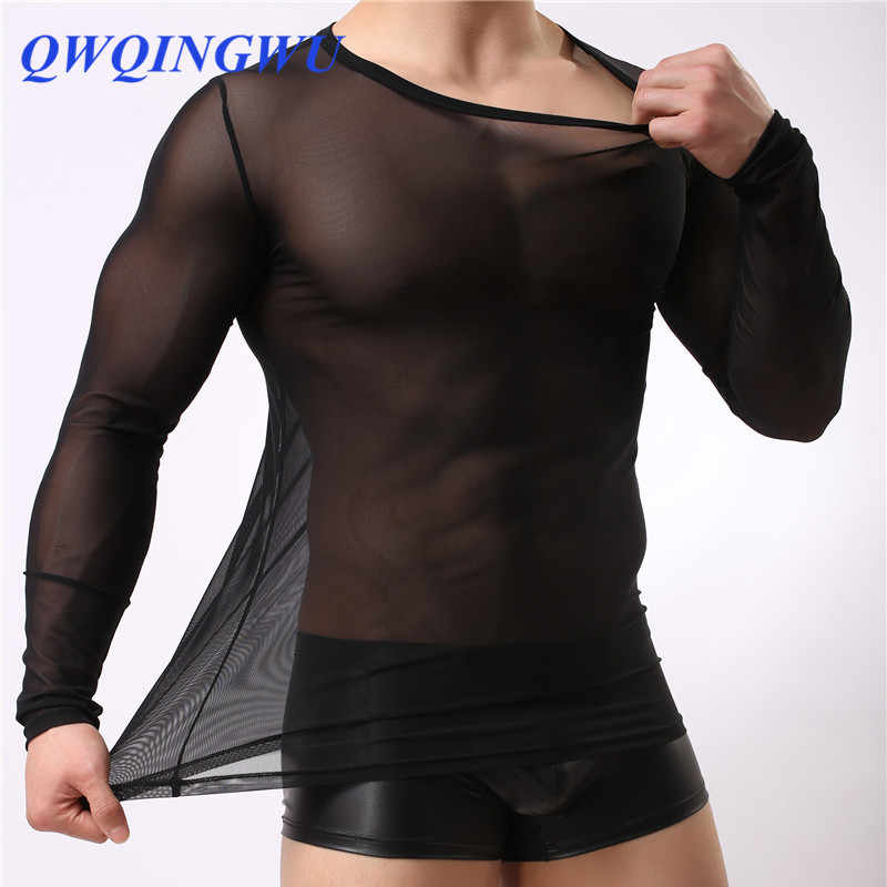 Mens Undershirt Gay clothing Nylon Mesh shirt men See Through Sheer Long Sleeves T Shirts Male Sexy transparent shirt Underwear