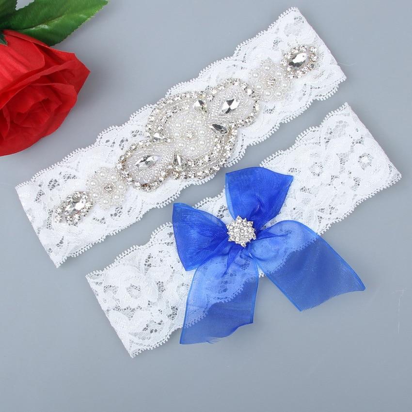 Wedding Garter Set Blue Lace Bow Butterfly Bridal Garter