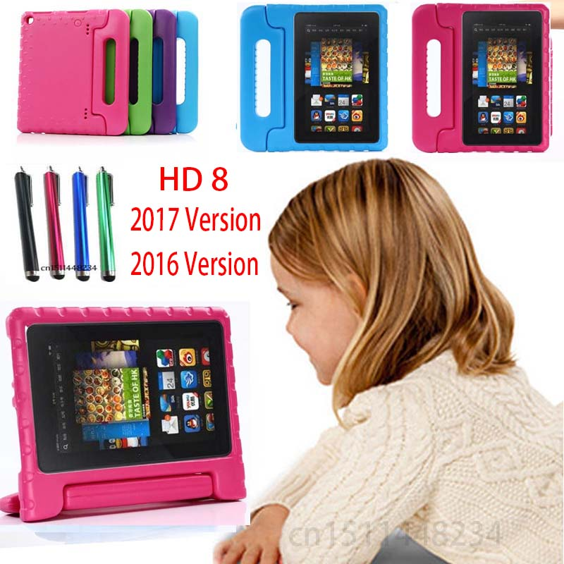 Kids Safe Rugged EVA silicone Foam Case Handle Stand For New Amazon Fire HD 8 HD8 2017 2016 Release Impact Protective Skin Shell