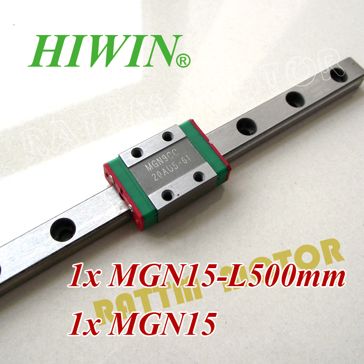 ФОТО MGN15-L500mm one set HIWIN linear guide Linear Rail Slide Block Carriage Miniature+MGN15C linear carriage bearing linear guide