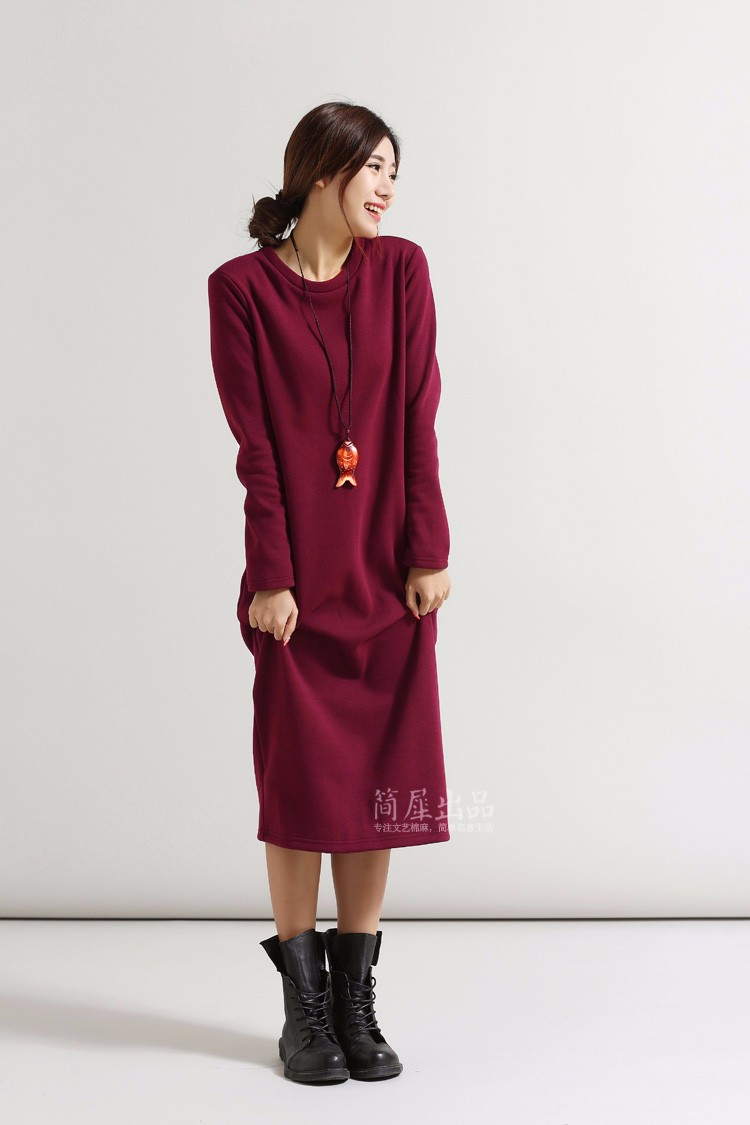 SCUWLINEN Winter Dress 17 Vestido Women Dress Plus Size Velvet Thickening Thermal Basic Dress Long Sleeve Solid Warm Dress S59 5