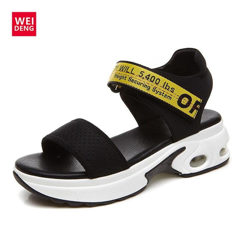 WeiDeng 2017 Platform Summer Women Shoes Soft Casual Peep Toe Slipper Hook Loop Mid Heels Hasp Wedges Ladies Sandals phyanic 2017 summer women sandals platform wedges sandals hook