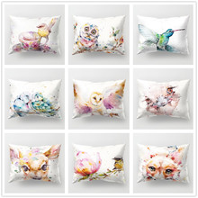 Watercolor Animal Polyester Cushion Cover Soft 30x50cm Cute Bird Owl Deer Print Decorative Pillow Case for Sofa Couch Home Decor floral bird print decorative pillow case