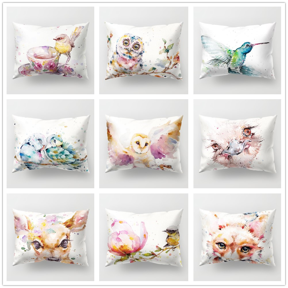 Watercolor Animal Polyester Cushion Cover Soft 30x50cm Cute Bird Owl Deer Print Decorative <font><b>Pillow</b></font> <font><b>Case</b></font> for Sofa Couch Home Decor image