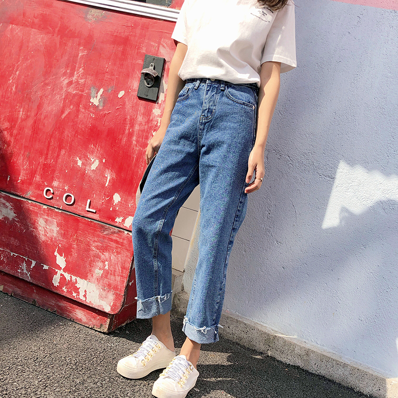 New Summer High Waist Skinny Jeans Female Pencil Pants Boyfriend hole ripped jeans Cool denim Women Jeans