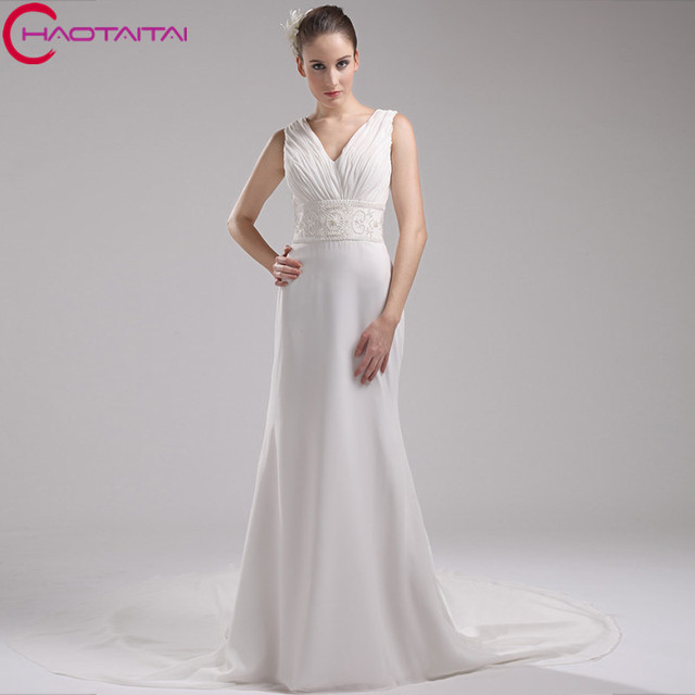 2018 Natural Straight Formal Dinner Gown Plus Size Women Chiffon Wedding Dress