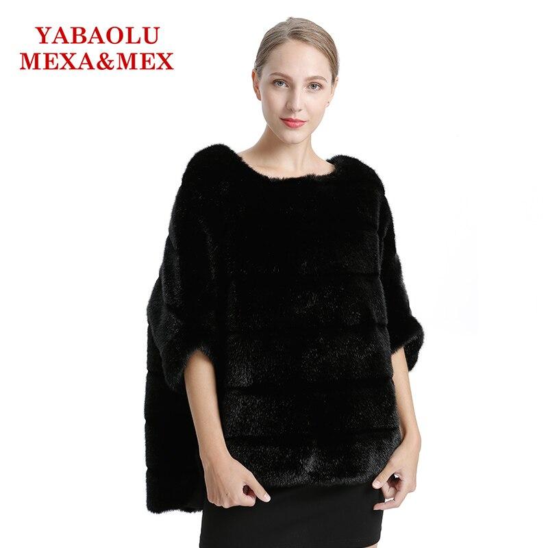 Faux Mink Fur Women Coat Autumn Winter Overcoat Black Faux Fur Coat Fashion Bat shirt Pullover