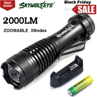 Super Bright Zoomable Q5 Mini LED Flashlight Focus Torch Light 14500 Battery Charger 2000LM NOJ08