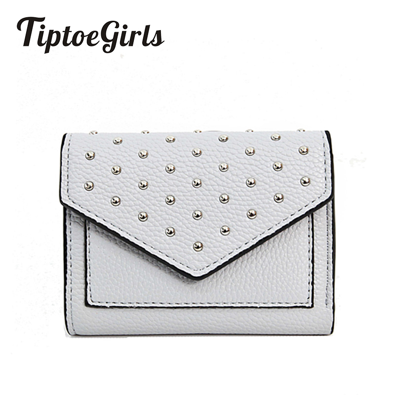 Wallets Female Autumn and Winter New Wild Casual Personality Rivets Short Wallet Fashion Wallet Multi-Card Bit Card Package Tide