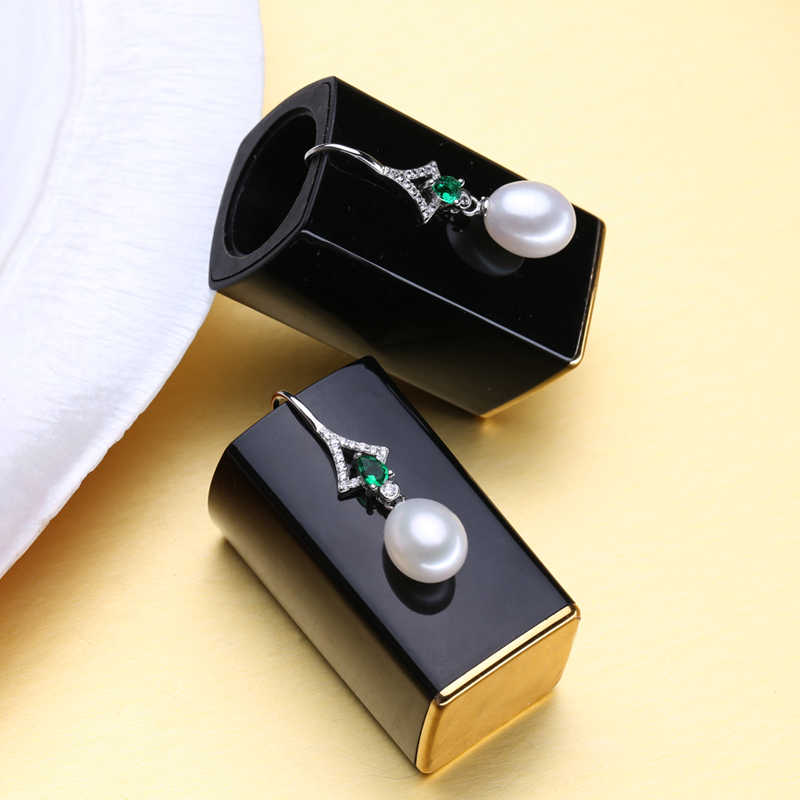 FENASY Emerald Freshwat Drop Pearl S925 เงินสเตอร์ลิงต่างหูยาว Bohemian CZ คริสตัลสีเขียวต่างหูไอเดียของขวัญ