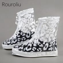 Rouroliu Unisex Reusable Zebra Leopard Anti-Slip Thick Waterproof Protector Rain Shoes Covers High-Top Flat Overshoes RB171