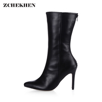 Women 9 7cm High Heel Mid Calf Boots Woman Pointed Toe Heels Shoes Good Quality Half
