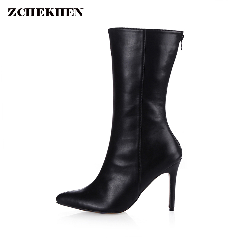 Women 9.7cm High Heel Mid Calf Boots Woman pointed Toe Heels Shoes Good Quality Half Short Botas Feminina Size 35-43 spring autumn women thick high heel mid calf boots platform woman short boots high heels shoes botas plus size 34 40 41 42 43