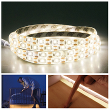 PIR Motion Sensor LED Under Cabinet Lights 2835 LED Strip Light 60 LEDs/m Wireless Smart Night Lamp Indoor Bedroom Lighting