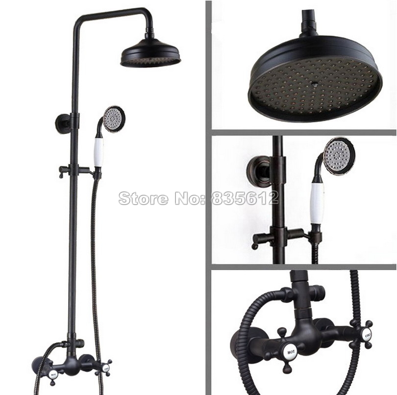 Rain Shower Faucet Set with Bathroom Handheld Shower & Wall Mounted Black Oil Rubbed Bronze Dual Cross Handles Mixer Taps Wrs498