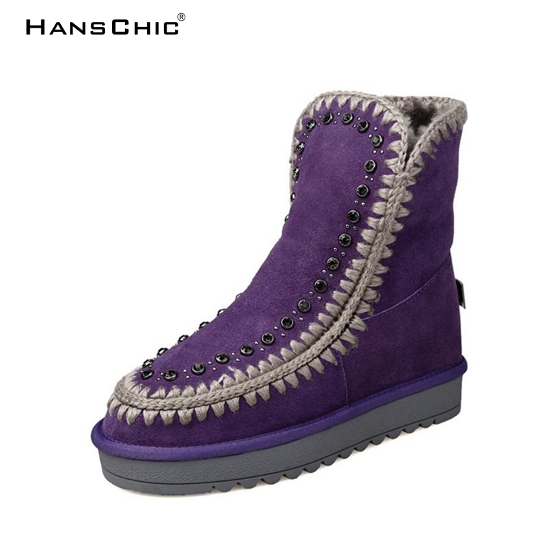 HANSCHIC 2017 Purple Special Design Real Cow Fur Leather Ladies Womens Casual Winter Snow Boots for Female with Sequins XZY52 hanschic 2017 new arrival winter special rivets design black leather ladies women knee high casual boots for female 1036