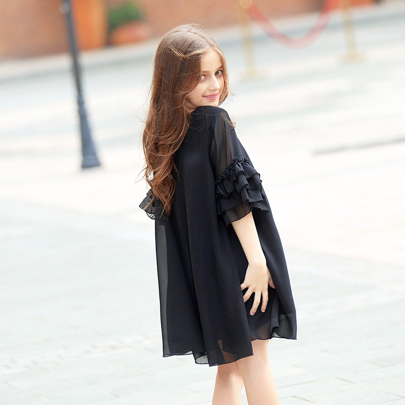 2018 Girls Summer Evening Frock Design Dresses Black Chiffon Party Ruffle  Dress Everything for children Clothing and Accessories-in Dresses from  Mother ... 22b109664