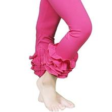 2016 cotton retail red Children full length girl kid ruffle pants legging solid baby girl leggings toddler trousers girl clothes
