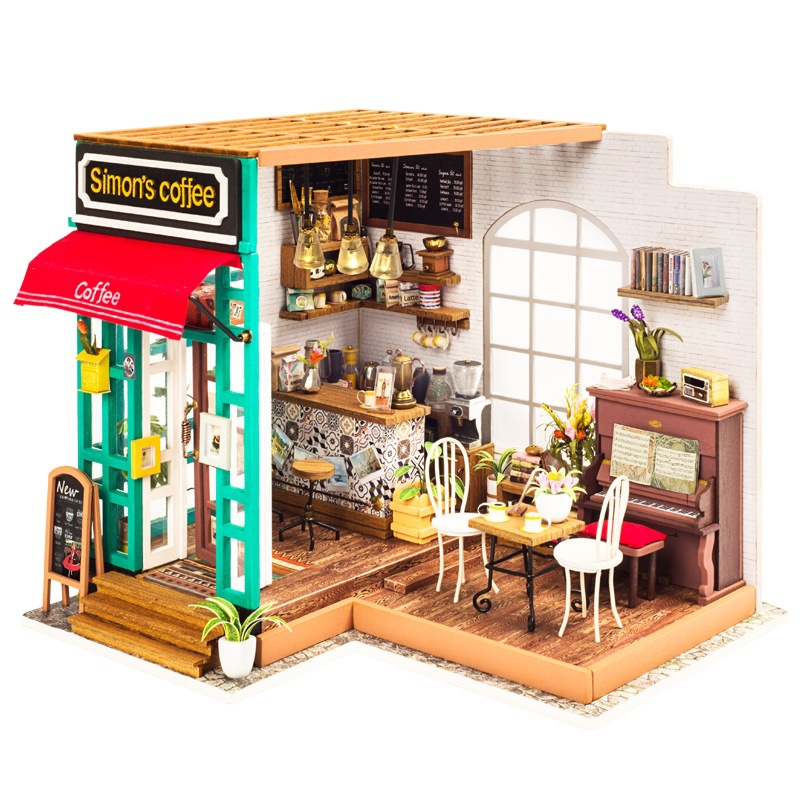 Diy Handmade Wooden Miniaturas Cafe Dollhouse Miniature Doll House Furniture Kit Toys for Children Birthday Gifts wooden handmade dollhouse miniature diy kit caravan